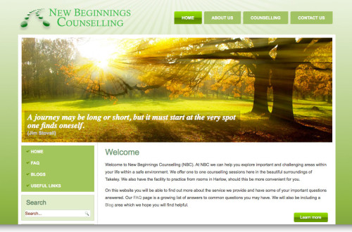 New beginnings website design